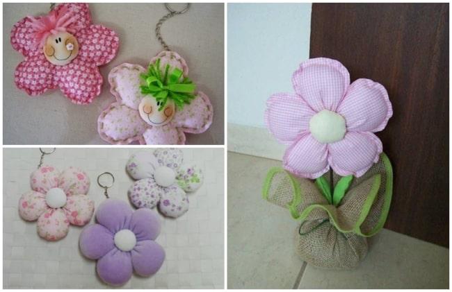flor de tecido com enchimento