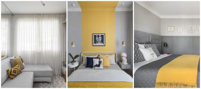 decoracao em cinza claro e amarelo