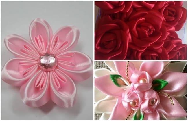 flor de tecido em cetim