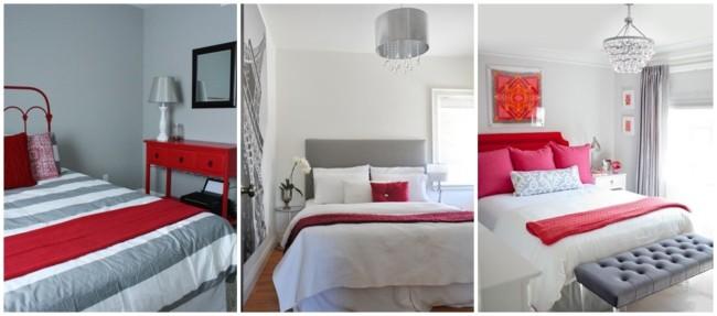 decoracao em cinza claro e vermelho