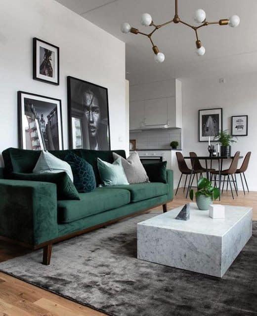 sala com sofa verde escuro e tapete cinza