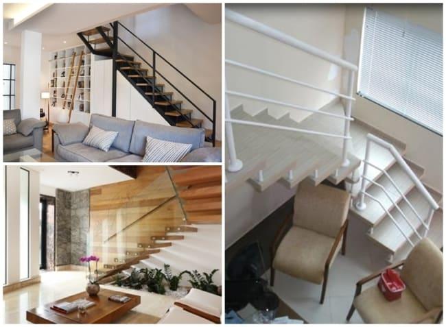 sala com escada em L