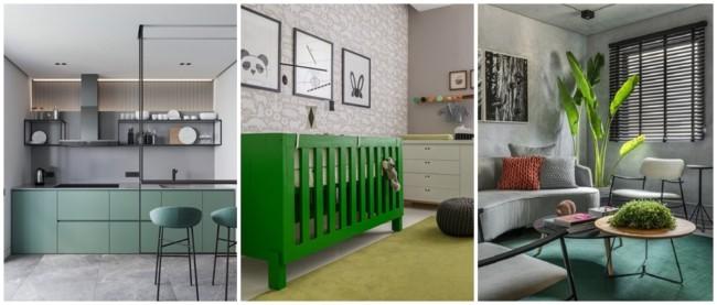 decoracao em verde e cinza