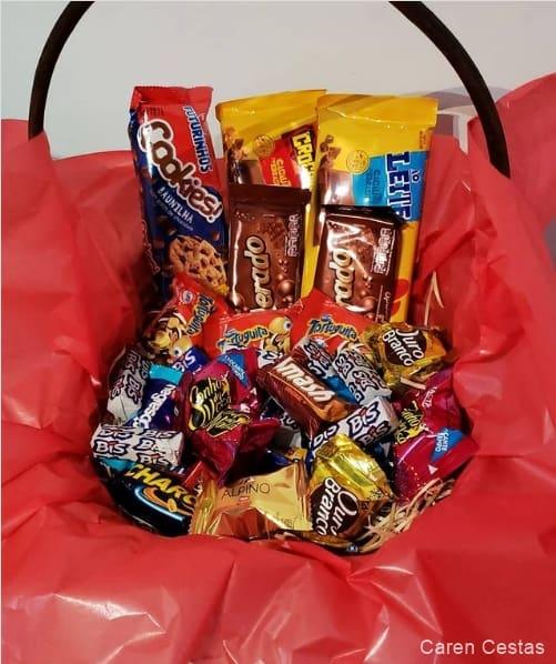 ideia para cesta de chocolate simples