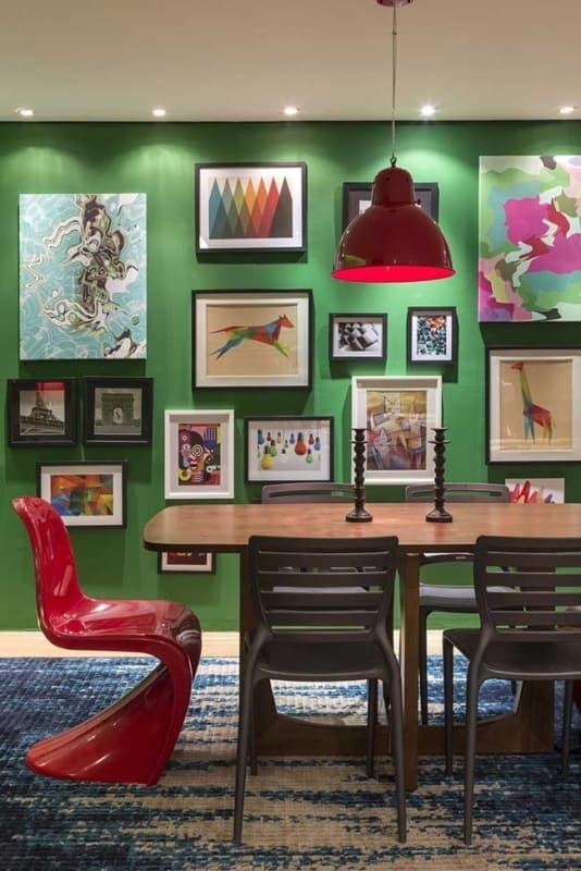 decoracao com cores que combinam com verde