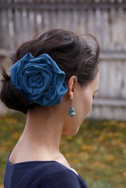flor de tecido para penteado