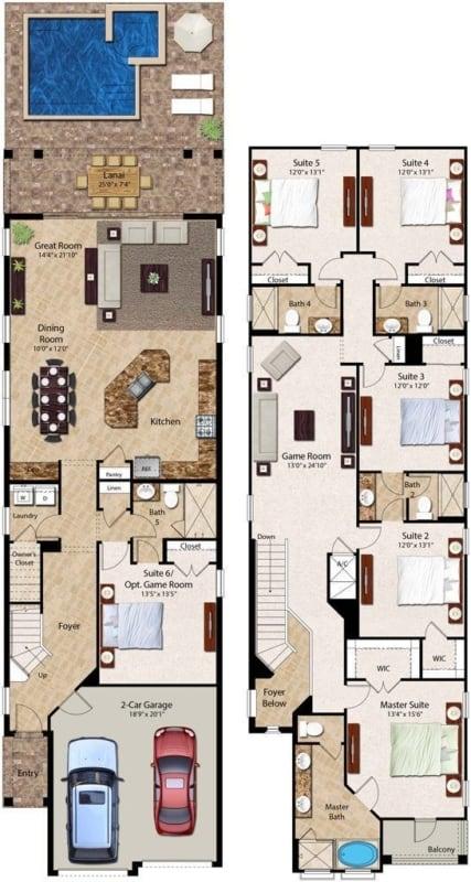 Modelo de planta de sobrado grande com quatro quartos garagem area para piscina entre outros