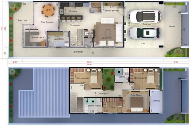 Modelo de planta para sobrado com tres quartos