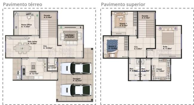 Planta com pavimento terreo e superior de um sobrado com tres quartos