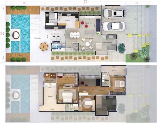 Planta de 3 quartos para sobrado com garagem e area com piscina