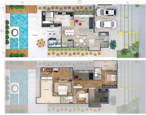 Planta de sobrado com piscina e duas vagas de garagem com terreno com grande area