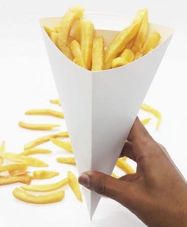 dica de embalagem para batata no cone