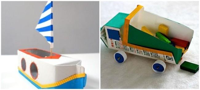 brinquedos reciclados com caixa