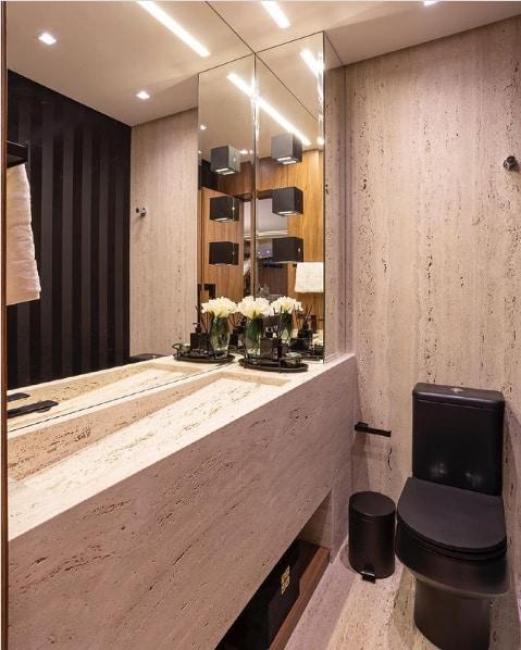 lavabo com marmore travertino romano