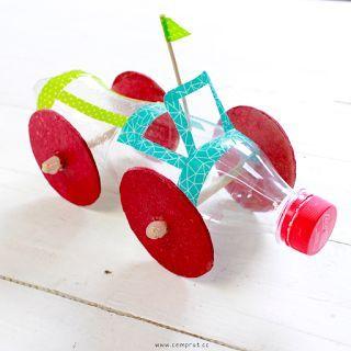 carrinho reciclado de garrafa pet