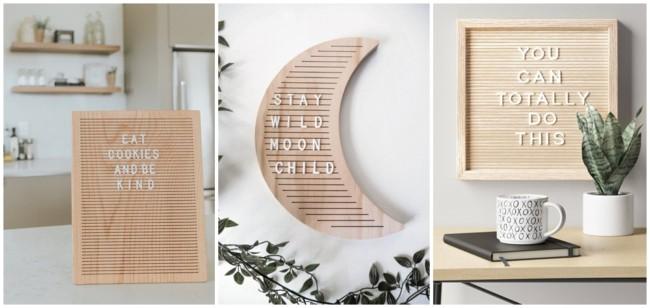 letter board em madeira