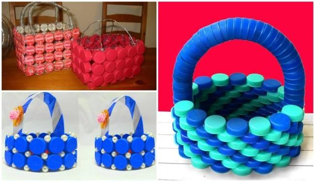 modelos de cestas de tampinhas de garrafa PET