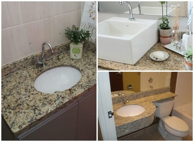 banheiro com granito Santa Cecilia