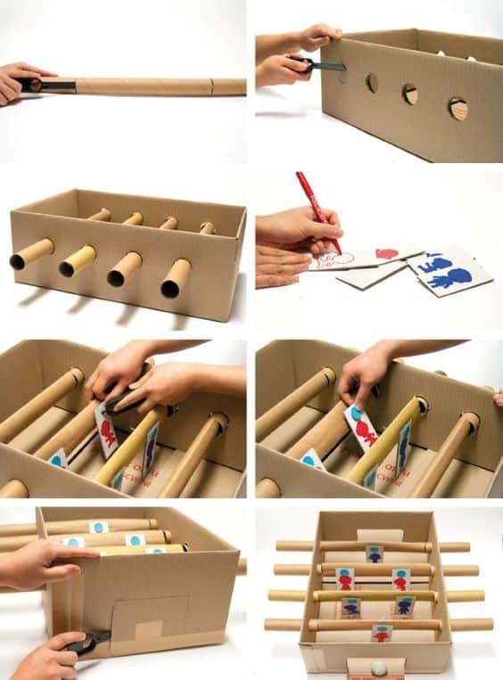passo a passo para fazer brinquedo reciclado com caixa de papelao