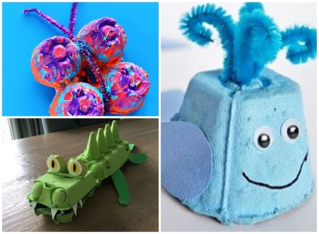 brinquedos reciclados com caixa de ovo