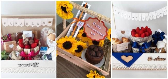 modelos de cesta de aniversario com bolo