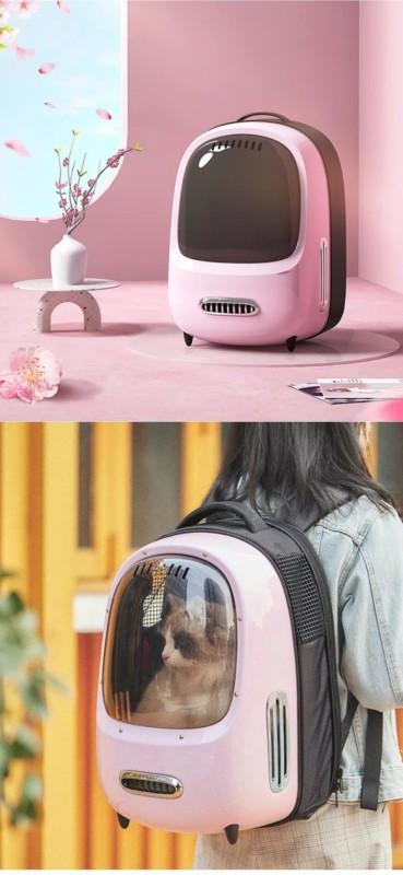 Mochila para gato rosa e futurista