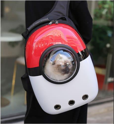 Veja mochila estilo pokebola para o gatinho