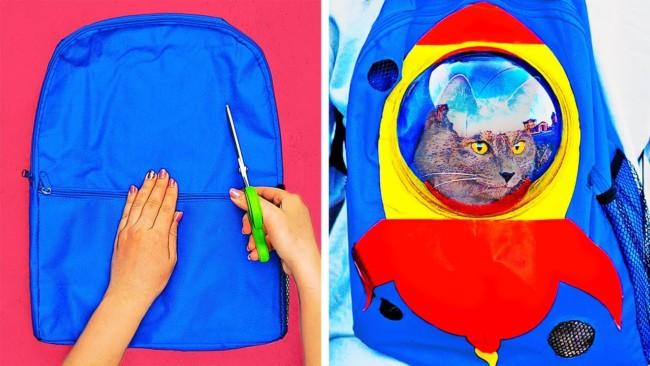 Voce pode criar sua propria mochila para felinos