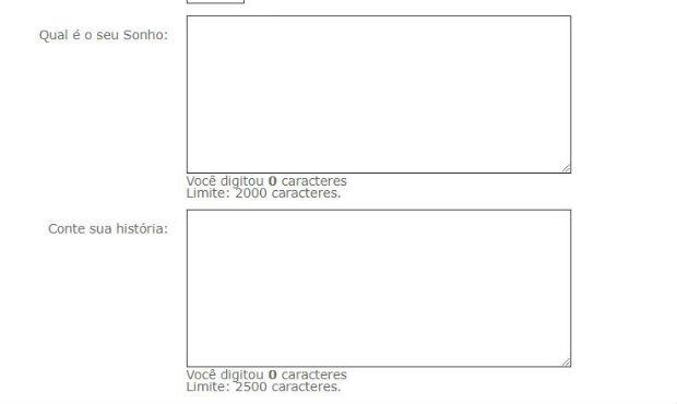 formulario construindo um sonho no SBT