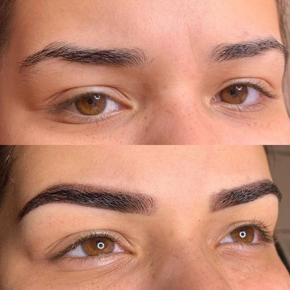antes e depois de micropigmentacao esfumada nas sobrancelhas