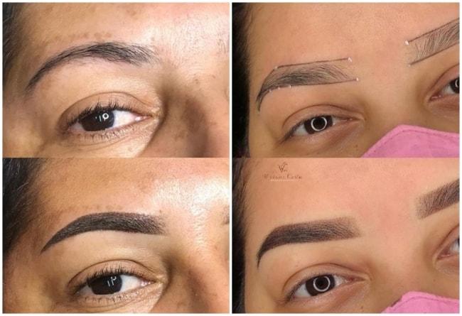 fotos antes e depois de micropigmentacao esfumada