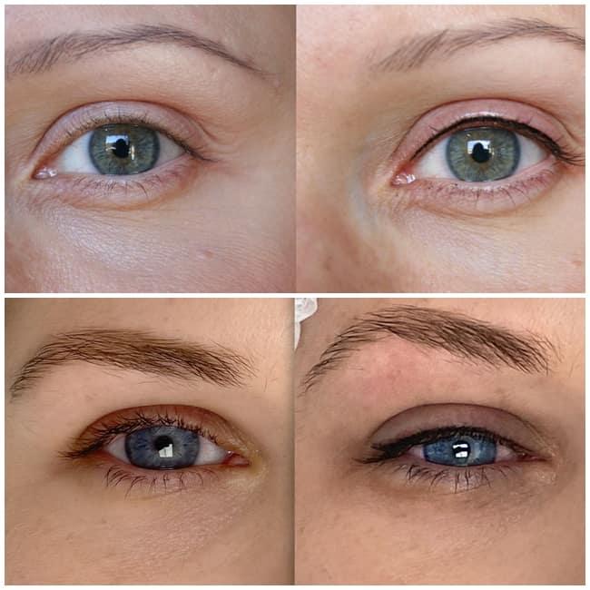 resultados de delineado definitivo em olhos claros