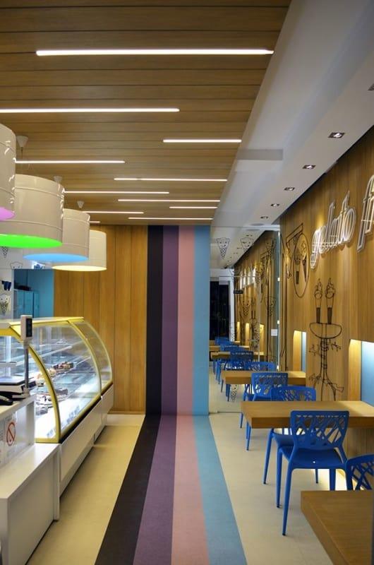 decoracao moderna e colorida de sorveteria pequena