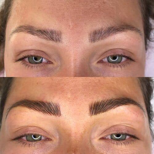 foto de antes e depois de preenchimento de sobrancelha