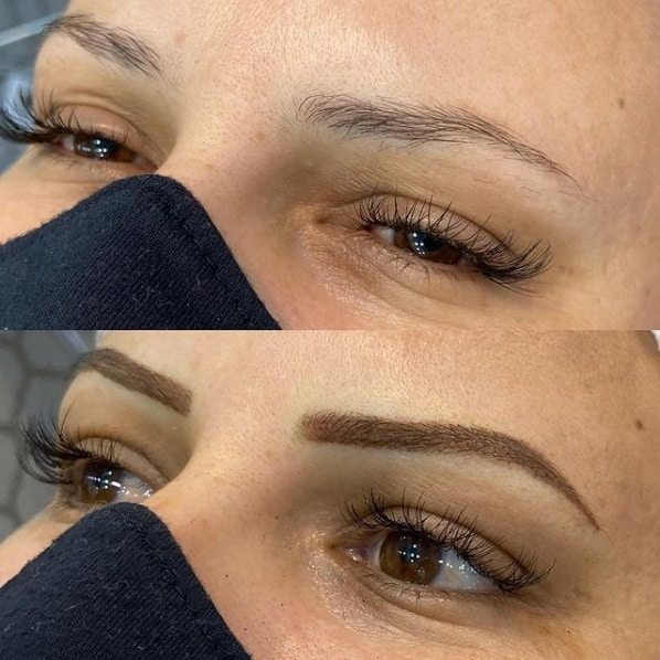 antes e depois de micropigmentacao em sobrancelha com falha