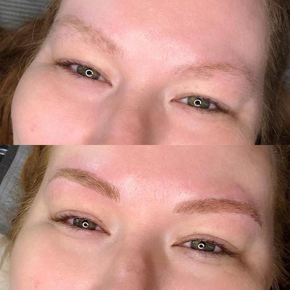 antes e depois de micropigmentacao fio a fio em sobrancelha ruiva
