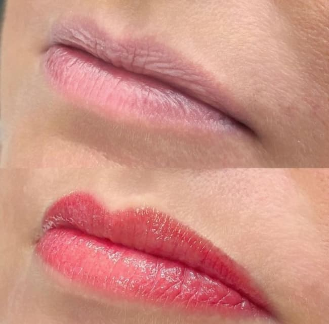 antes e depois de micropigmentacao em labios finos