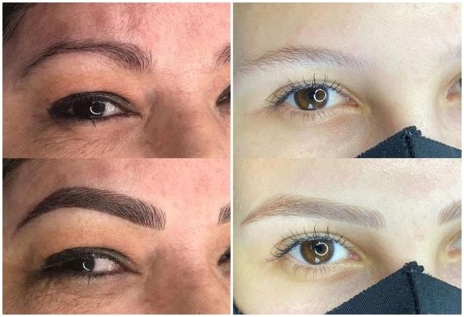 antes e depois de micropigmentacao nas sobrancelhas