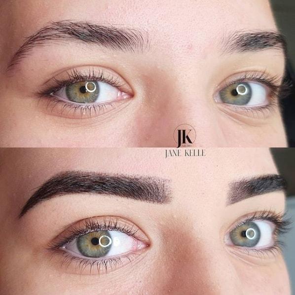 antes e depois de micropigmentacao com tecnica esfumada