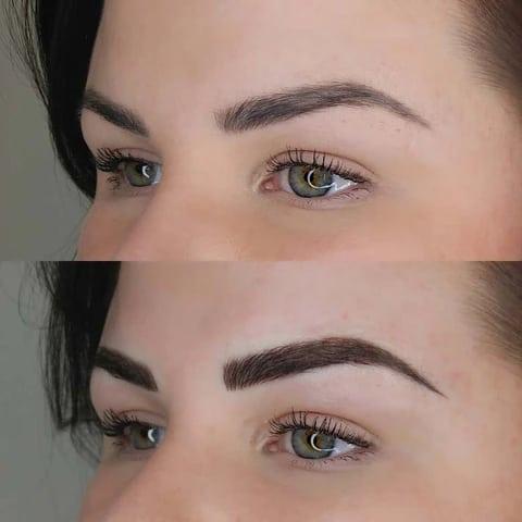 antes e depois de preenchimento das sobrancelhas fio a fio