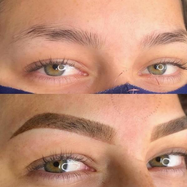 antes e depois de micropigmentacao esfumada