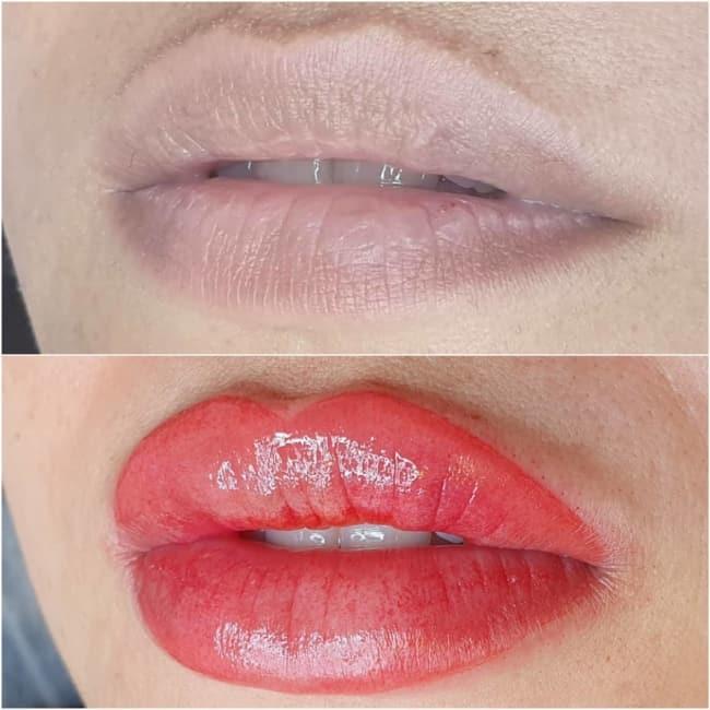 antes e depois de micropigmentacao labial em labios grossos