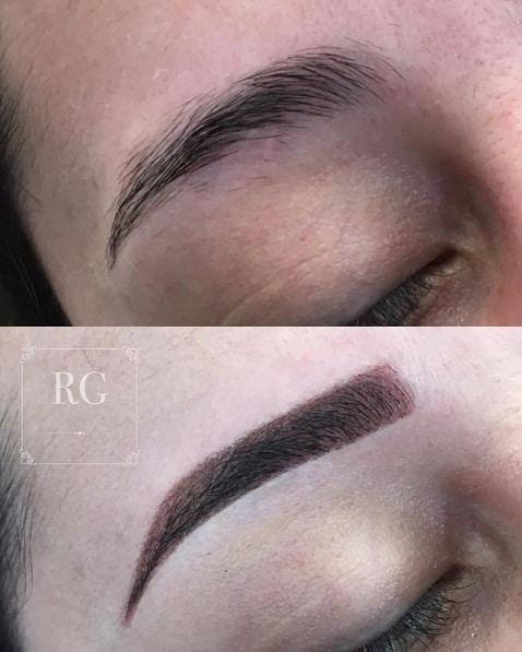 sobrancelha antes e depois de preenchimento