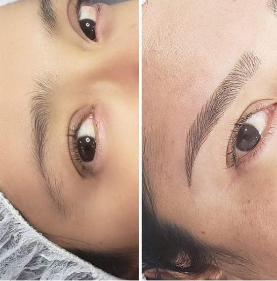 antes e depois de micropigmentacao fio a fio em sobrancelha rala
