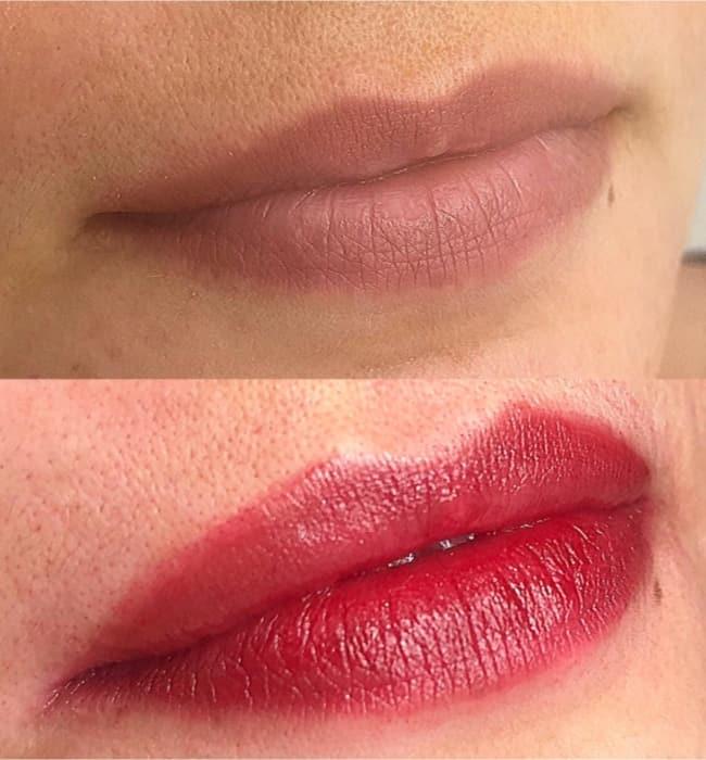 foto antes e depois de micropigmentacao boca