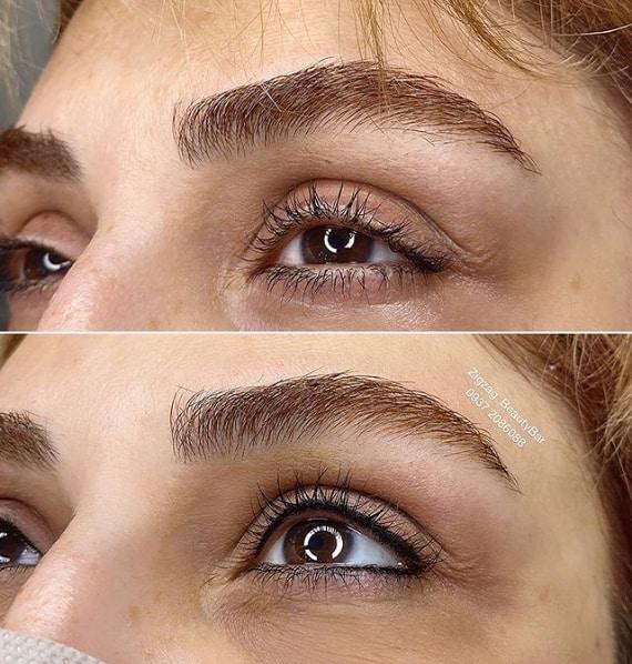 antes e depois de delineado definitivo na palpebra superior e inferior