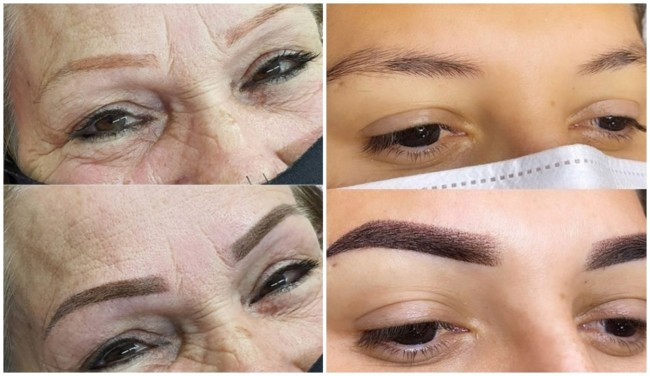 antes e depois de tecnica shadow nas sobrancelhas