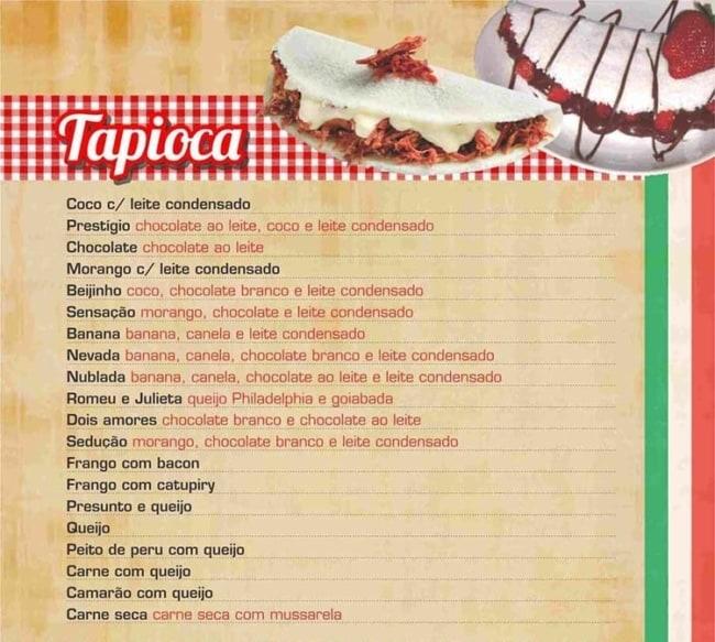 ideia de cardapio para tapioca