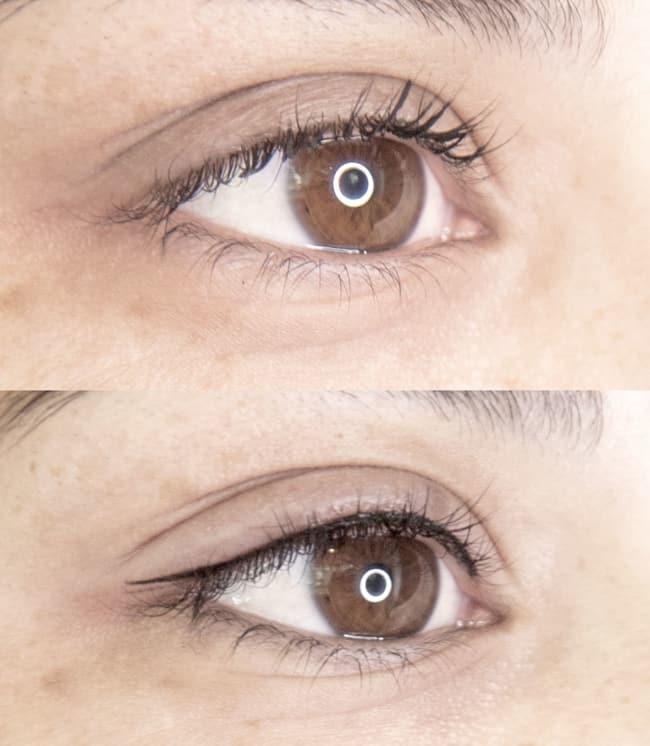 antes e depois de micropigmentacao nos olhos