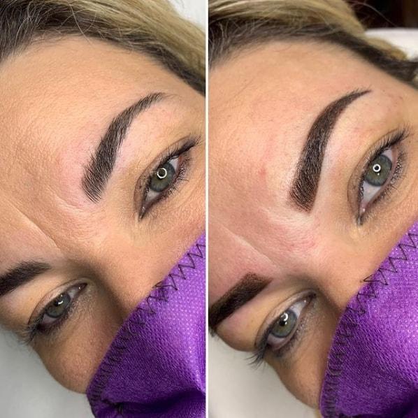 antes e depois de sobrancelha com tecnica shadow
